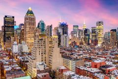 New York City Midtown Cityscape. New York City, USA midtown Manhattan skyline over Hell`s Kitchen Royalty Free Stock Photos