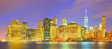 New York City, USA-Nachtstadtbild Stockfotos