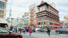 New York City, USA - OKTOBER, 2016: Chinatown in Manhattan, New York. Road traffic and the building in Chinese style. Chinatown in Manhattan, New York. Road stock video footage
