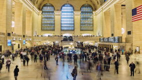 New York City, USA - OKTOBER 26, 2016: Grand Central Station in New York City time lapse with blurred people. 4K. Grand Central Station in New York City time stock video