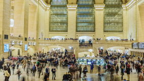 New York City, USA - OKTOBER 26, 2016: Motion pan timelapse: Grand Central Station in New York City time lapse with. Grand Central Station in New York City time stock footage