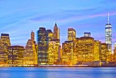 New York City USA på solnedgången Arkivbilder