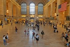 People in main hall of Grand Central Terminal. NEW YORK CITY, USA, September 10, 2017 : Grand Central Terminal also referred to simply as Grand Central or Royalty Free Stock Image