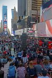 Crowd at Times Square in the evening. NEW YORK CITY, USA, September 10, 2017 :  Times Square is a major commercial intersection, tourist destination stock image
