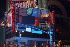 Lights in Times Square at night. NEW YORK CITY, USA, September 10, 2017 :  Times Square is a major commercial intersection, tourist destination, entertainment stock images