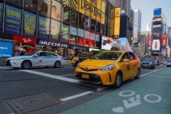 Traffic in Times square. NEW YORK CITY, USA, September 10, 2017 : Traffici in Times square. Times Square is a major commercial intersection, tourist destination Royalty Free Stock Photography