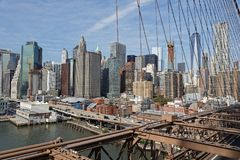 View of Manhattan skyline from Brooklyn bridge Royalty Free Stock Photo