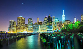 New York City. USA skyline at night view from Brooklyn stock images