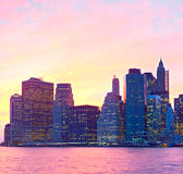 New York City, USA at sunset Stock Images