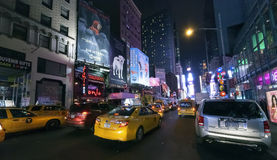 NEW YORK CITY, USA - Times Square. NEW YORK CITY, USA-OCTOBER 4:Times Square, featured with Broadway Theaters, Sightseeing Buses, Taxi Cabs and animated LED royalty free stock image