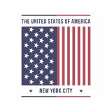 New York City, USA typography for t-shirt print. American flag. T-shirt graphics. Vector Stock Photos