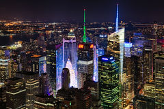 New York City, USA - Uptown and Times Square. New York City, USA - October 5, 2014: New York Uptown and Times Square panorama aerial view at night with office stock photo
