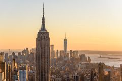 Free New York City - USA. View To Lower Manhattan Downtown Skyline With Famous Empire State Building And Skyscrapers At Sunset Royalty Free Stock Photos - 144394418