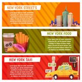New York city Vector banners with flat icons Fast food, streets, city line, yellow taxi. New York city Vector banners with flat icons Stock Image