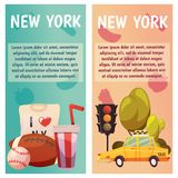 New York city Vector banners with flat icons. Yellow taxi, sport, baseball, rugby. City line. New York city Vector banners with flat icons Stock Photos