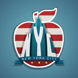 New York city vector emblem with skyscraper, ribbon and big appl Stock Images