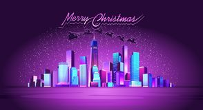 New York City. Vector horizontal illustration, a city illuminated by neon lights, on Christmas night, Santa Claus flies across the sky in a sleigh pulled by royalty free illustration
