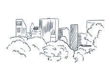 New York city vector sketch landscape line illustration skyline vector illustration