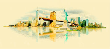New york city. Vector watercolor new york city illustration Stock Image