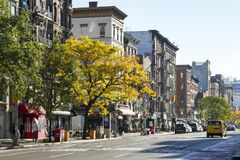 NEW YORK CITY - VERS 2017 : La lumière du soleil brille l'automne coloré t Images libres de droits