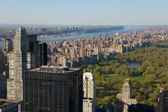 New York city view from above. New York city with Central Park, seen from the Top of the Rock viewing platform Royalty Free Stock Photos
