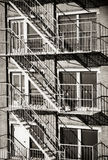 Exterior of a building with old fire escape in  New York City Royalty Free Stock Photography