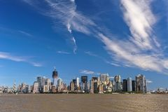 New York City Panoramic, Panorama. New York City. The view shows lower Manhattan which includes the Empire State Building and One World Trade Center. Image Royalty Free Stock Photo
