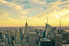New York City Vintage style. Vintage style view across the beautiful city of New York at Midtown Manhattan towards downtown.  This image has a retro effect Stock Image