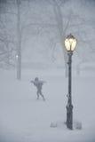 New York City 1/23/16: Vinterstormen Jonas kommer med snowboarders och skiiers till Central Park Arkivbild