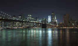 New York City w Brooklyn Bridge and Freedom tower Royalty Free Stock Images