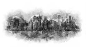 New York City watercolor artwork black and white. New York City Panorama - Manhattan and business office district silhouettes, very big size - Watercolor artwork Stock Photography
