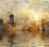 New York City waterfront. Impressionist New York City waterfront Stock Photography