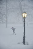 New York City, 1/23/16: Winter Storm Jonas brings snowboarders and skiiers to Central Park Stock Photography