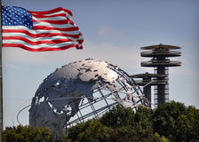 New York City World's Fair. The Unisphere is a 12-story high, spherical stainless steel representation of the Earth. Located in Flushing Meadows – Corona Park Royalty Free Stock Image