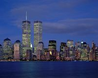 New-York city and World Trade. Center at night from Hudson river Stock Photo