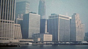 NEW YORK CITY 1975: World trade center at Battery Park low density of tall buildings.