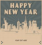 New York City New Year`s Invitation Art Deco Style. Eve Times Square Party Big Apple Drop stock illustration