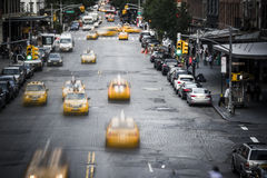 New York City yellow taxi street scene Stock Image