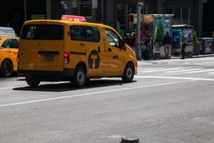 New York City yellow taxi van royalty free stock images