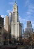 New- York Cityansicht mit Woolworth-Gebäude Stockfotos