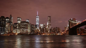New york citydowntown night light 4k time lapse from usa stock video footage