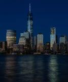 New- York Cityfinanzbezirk, Manhattan-Blaustunde Lizenzfreie Stockfotos