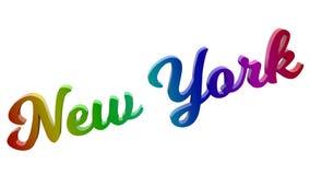 New- York Cityname kalligraphisches 3D machte Text-Illustration gefärbt mit RGB-Regenbogen-Steigung Stockbild