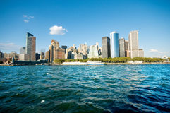 New- York Citypanorama mit Wolkenkratzern stockfoto