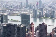 New York cityscape birds eye view. NEW YORK, USA - Apr 30, 2016: New York cityscape viewed from top of Empire State Building. Birds eye view Stock Photo