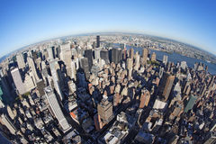 New York cityscape with fisheye. Photo of New York city taken from the Empire State Building with a fisheye lens royalty free stock images
