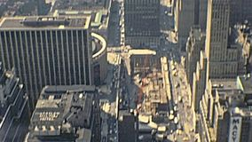 New York cityscape. New York city, United States of America - circa 1970: vintage cityscape of NYC and East river from the Top of the Empire State Building and stock video footage