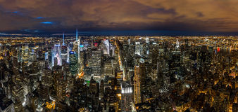 New York cityscape at night Stock Image