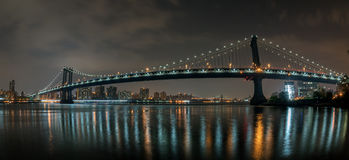 New york cityscape night view from brooklyn Stock Image