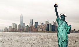 New York cityscape and Statue of Liberty, USA Stock Photo